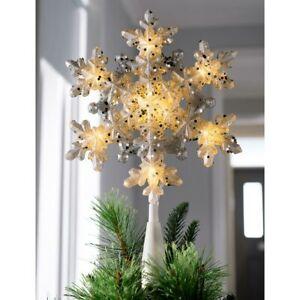 Pre-Lit Snowflake Christmas Tree Topper Silver Decoration Warm White LED 29cm