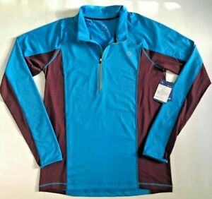 New WITHOUT WALLS Mens Blue 1/4 Zip Activewear Stretch Top Shirt L Free Ship