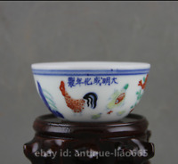 """3.1""""Chinese Colour Porcelain Zodiac Animal Rooster Cock Chicken Teabowl Tea-Bowl"""