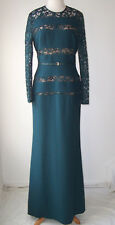 ELIE SAAB Green Lace Panel Long Sleeve Dress Gown 44 10 12