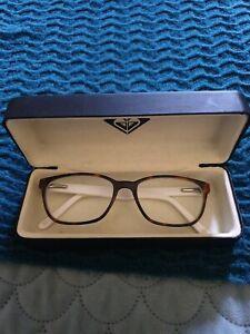 ROXY Reading Glasses Oval Rounded Brown White Tortisshell Prescription Modern B9