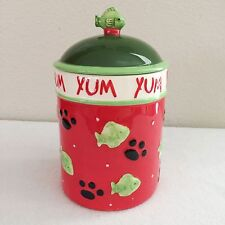 "Cat Treat Canister Green Fish with Paw Prints Red & Green 8"" Tall"