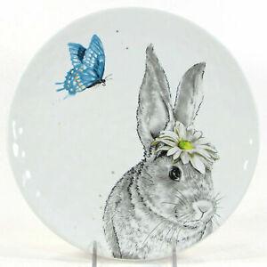 "PIER1 EASTER SKETCH ART BUNNY BLUE BUTTERFLY DESSERT SALAD PLATE 8.5"""