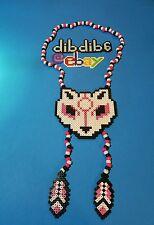 Wolf, Okami perler kandi necklace, rave, PLUR, EDC, EDM, art hama melty