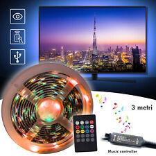 Striscia LED luce RGB controller musicale per retroilluminazione TV USB 3MT IP55