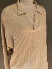 Gap Men's XL Off White Lightweight Long Sleeve Cable Polo Style Sweater