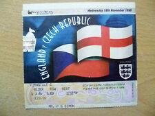 Tickets/ Stubs- 1998 ENGLAND v CZECH REPUBLIC, 18 Nov