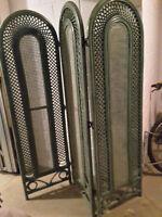 Paravents 3 teilig Rattan grün Vintage Trennwand Raumteiler