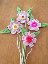 4x Grande Handmade Crochet Fiore e lasciano 4x 6-6.5cm