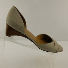 Stuart Weitzman Womens Beige Peep Toe Kitten Heels D' Orsay Leather Sole Sz 8.5M