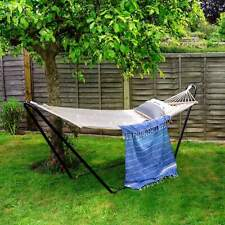 Harbour Housewares Spreader Bar Hammock with Stand - Neutral