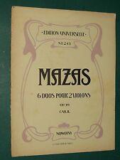Partitions  6 duos faciles pour 2 violons Op. 39 cahier II MAZAS