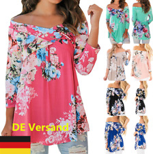 DE Damen Lose Blumenmuster Sommer Lässig Tunika Tops T-shirt Oberteil Blusen