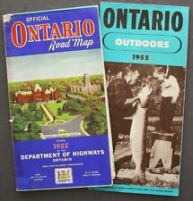 Lot Of Two 1955 Official Ontario Dept Hwy Road Map & Outdoors Fishing Brochure