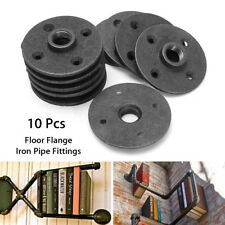10Pcs Bigger 1/2'' Black Malleable Threaded Floor Flange Iron Pipe Wall Mount US