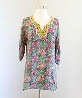 Tolani Paisley Print 3/4 Sleeve Silk Tunic Blouse Top Size M Green Yellow Boho
