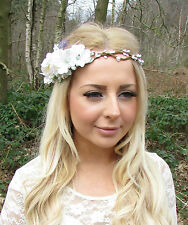 White Ivory Rose Blossom Lavender Flower Garland Headband Hair Crown Bridal 2258