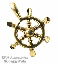 Ship Wheel Charm Boat Pendant EP Gold Plated Jewelry with a Lifetime Guarantee!
