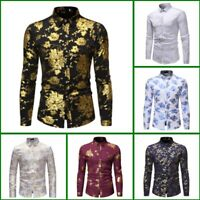 Dress Shirts Shirt Slim Fit Floral Top Luxury Mens Stylish Casual Long Sleeve