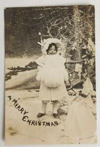 Antique Vintage Real Photo Postcard Girl A Merry Christmas Bamforth Posted 1905