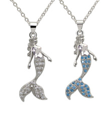Women Girl Sterling Silver Fairytale Mermaid CZ Crystal Pendant Necklace Box PE3
