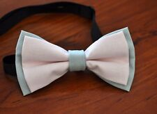 NEW Pink and Grey 100% Cotton Best Man Bowtie Bow Tie Wedding Ball Party