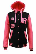 Womens Size Contrast Badge Baseball Hooded Varsity Plus Button Jacket UK 16-28 Black/neon Pink 20