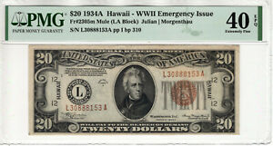 1934 A $20 FEDERAL RESERVE HAWAII NOTE FR.2305m MULE PMG EXTREMELY FINE 40 EPQ