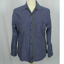 English Laundry Blaque Label Black Purple Check Long Sleeve 100% Cotton Shirt M