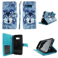Flip Wallet Case Greyish Wolf for Samsung Galaxy S8 Cash id Slot Stand Cover