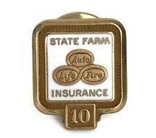 Vintage State Farm Insurance Service Award Pin Logo 10K Gold Filled White Enamel