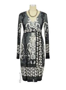 "Olian ""Monique"" Maternity Dress - Arabesque Print - Gray/Blk/Cream - Size Large!"