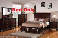 Modern 1 Pc Cherry Wood Finish Queen Size Bed Bedroom BedFrame Furniture