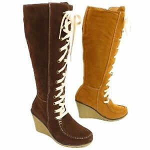 Womens Brown knee length high zip lace faux suede boots