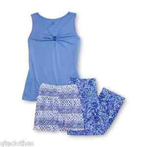 JACLYN SMITH NEW Blue Pajama Top Abstract Prints Pants & Short Set Plus 2X QCO