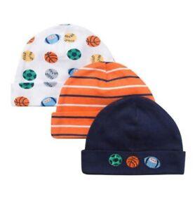 Gerber Baby Boy 3-Pack Sports Orange/Navy Caps Size Newborn