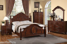 4pc New Bedroom Set of Est King Size Bed Dresser Mirror Night Stand Furniture