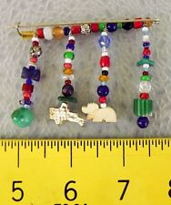 Native American Sterling Silver Turquoise Beaded Lapel Pin Hand-made