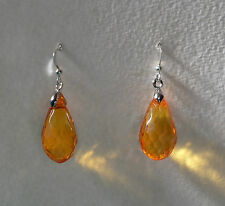 FACETED orange ACRYLIC CRYSTAL BRIOLETTE TEARDROP SILVER PLATED DROP EARRINGS