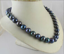 VERY PRETTY TAHITIAN NATURAL 10-11MM BLACK PEARL NECKLACE 14K !