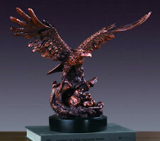 "Large Eagle With 2 Babies 16"" x 14.5"" Beautiful Bronze Statue / Sculpture New"