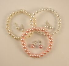 WHITE, CREAM OR PINK 8mm FAUX PEARL STRETCH  BRACELET  & EARRING SET