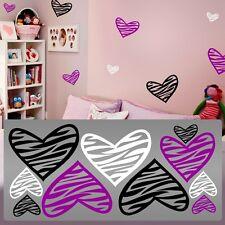 Zebra decals kids room, Zebra hearts wall,Zebra wall hearts decals room stickers