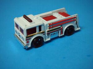 Hot Wheels Mattel White + Red Fire Truck engine #6 Malaysia