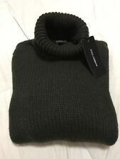 $2495 DOLCE & GABBANA 100% Cashmere Thick Turtleneck Sweater Pullover Green IT46