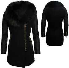 Damen Winter Mantel Winterjacke Parka Wollmantel Optik großes Kunstfell B331