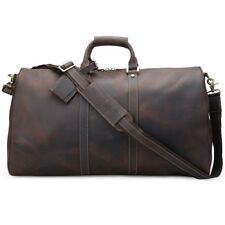 "Genuine Leather 22"" Luggage Travel Suitacase Overnight Duffel Gym Shoulder Bag"