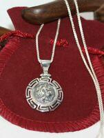 """Alexander III The Great Pendant Sterling Silver Greek Men's Women's Necklace 16"""""""