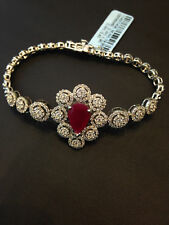 Pave 5.30 Cts Natural Diamonds Ruby Tennis Bracelet In Solid Certified 14K Gold