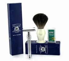 3X Men's Shaving Set Comes with Black Badger Shaving Brush, DE Safety,+ Blades